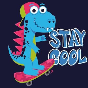 Cartoon simpatico mostro dinosauro, stampa tipografica freestyle skate board, drago divertente, piccolo disegno di dino moda per bambini, t-shirt per bambini e design tessile. vettore