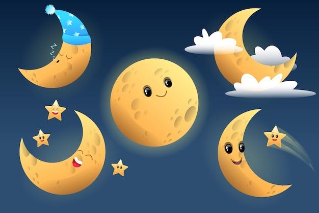 Personaggio simpatico cartone animato luna. illustrazione per bambini