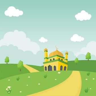 Moschea sveglia del fumetto con l'illustrazione del paesaggio della natura