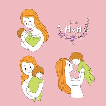 La madre sveglia del fumetto porta il vettore del bambino.