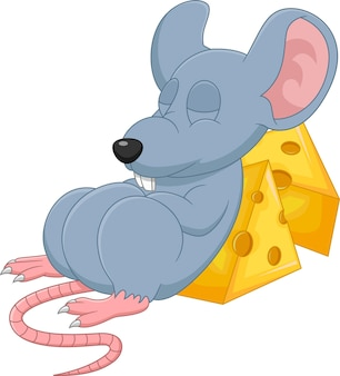 Mouse sveglio del fumetto che dorme su sfondo bianco