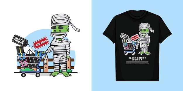 Cartone animato di carino mummia ragazzo personaggio tenendo il carrello della spesa