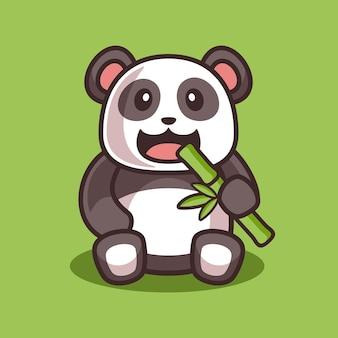Panda carino cartone animato che mangia illustrazione di bambù