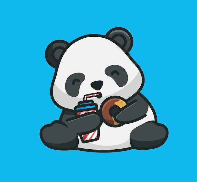 Cartone animato panda carino che tiene e mangia una ciambella con un drink. concetto di cibo animale del fumetto illustrazione isolata. stile piatto adatto per sticker icon design premium logo vettoriale. personaggio mascotte