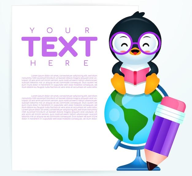 Pinguino sveglio del fumetto che si siede sul globo del mondo con la bandiera