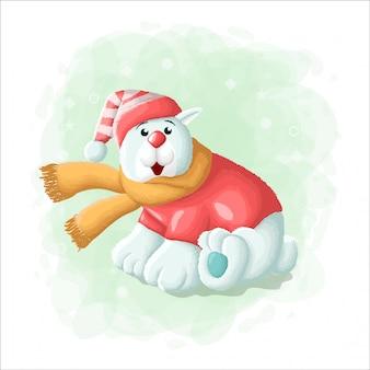 Orso polare sveglio del fumetto con l'illustrazione di buon natale del contenitore di regalo