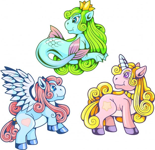 Set di immagini di pony simpatico cartone animato