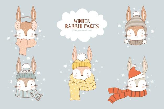 Cartoon simpatico coniglio faccia collezione di personaggi in cappello lavorato a maglia e sciarpa inverno freddo