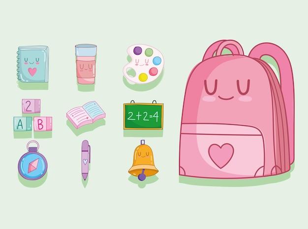 Cartone animato carino scuola set