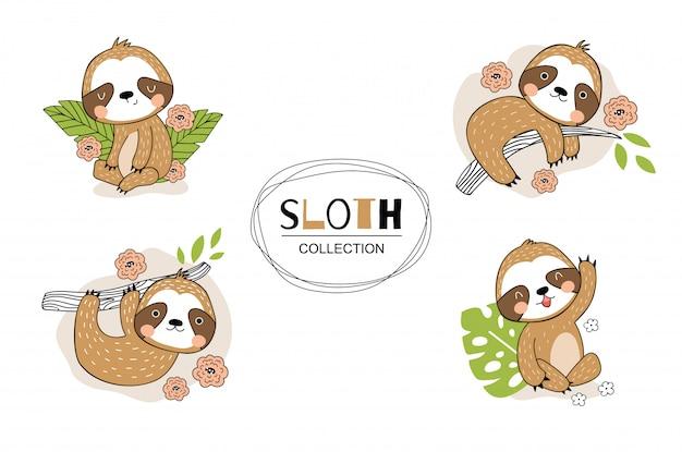 Set di bradipo simpatico cartone animato. illustrazione disegnata a mano