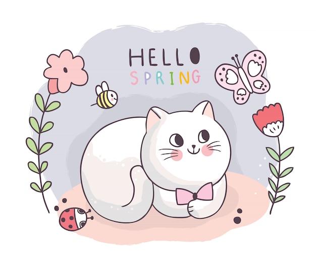 Cartone animato carino primavera, gatto e insetti e fiori.