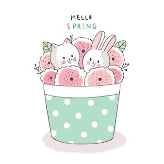 Cartone animato carino primavera, gatto e coniglio e fiore