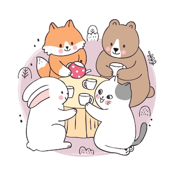 Cartoon carino primavera, fox e orso e coniglio e gatto bere caffè