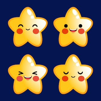 Cartone animato carino stelle emoticon avatar faccia emozioni positive set stock