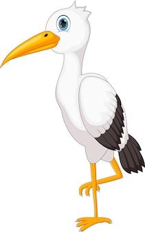Cicogna carina cartone animato su sfondo bianco