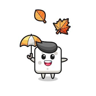 Cartone animato della zolletta di zucchero carina che tiene un ombrello in autunno, design in stile carino per maglietta, adesivo, elemento logo