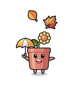 Cartone animato del simpatico vaso di girasole che tiene un ombrello in autunno, design in stile carino per maglietta, adesivo, elemento logo