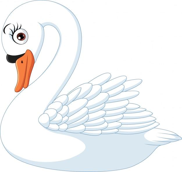 Cigno carino cartone animato isolato su sfondo bianco