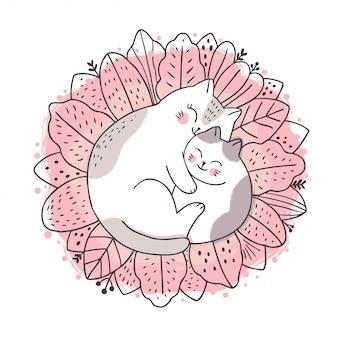 Cartone animato carino dolce sogno, madre e bambino gatto che dorme sulla foglia