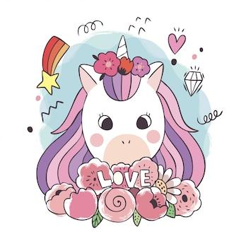 Unicorni e fiore dolci svegli del fumetto.