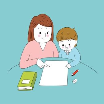 Cartone animato carino insegnante e ragazzo intelligente vettoriale.