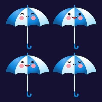 Cartone animato carino ombrello emoticon avatar viso emozioni positive set stock
