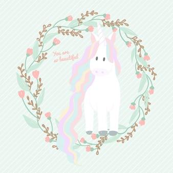 Cartone animato carino unicorno con cornice floreale