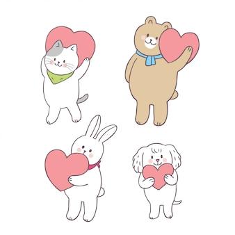 Cartone animato carino san valentino animali e amore vettoriale.