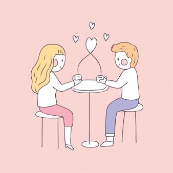 Cartone animato carino san valentino coppia e amore. Vettore Premium