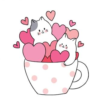 Gatti bianchi svegli del giorno di biglietti di s. valentino del fumetto e molti cuori in caffè della tazza.
