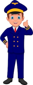 Cartone animato carino giovane pilota pollice in alto