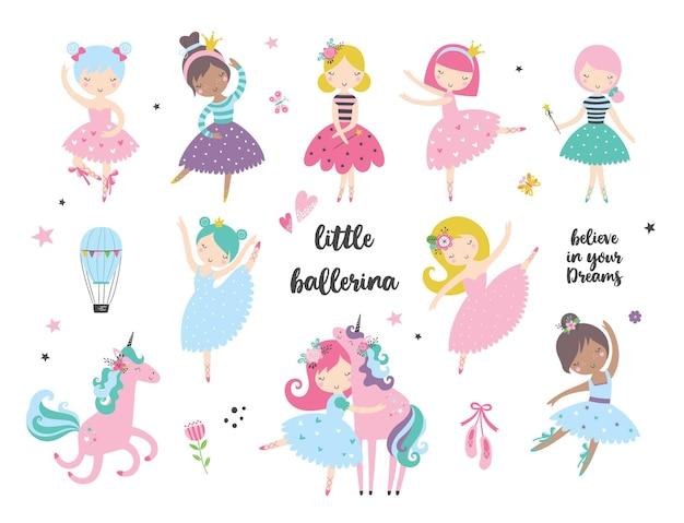 Ballerina danzante del fumetto in un insieme di doodle di illustrazioni di gonna, isolato per abbigliamento di moda, baby shower, avvolgimento