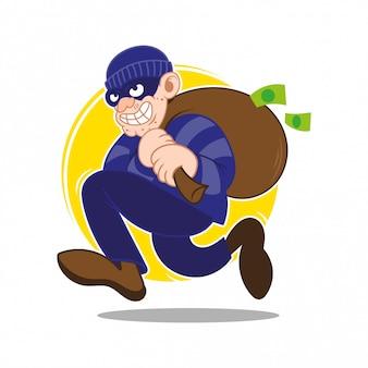 Il ladro astuto insidioso criminale pericoloso del fumetto vestito con la borsa scura della maschera scura veloce ha rubato più soldi e monete. frodi finanziarie bancarie. design piatto illustrazione stile moderno.