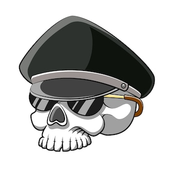Il cartone animato della polizia del cranio con la testa morta che usa gli occhiali da sole per l'illustrazione del libro di fiabe