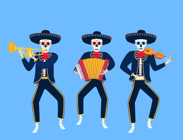 I mariachi morti del fumetto suonano strumenti musicali. illustrazione di vettore del cranio di zucchero. giorno dell'indipendenza del messico.