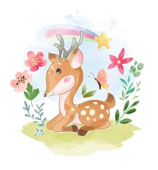 Cervo del fumetto che si siede nel giardino floreale