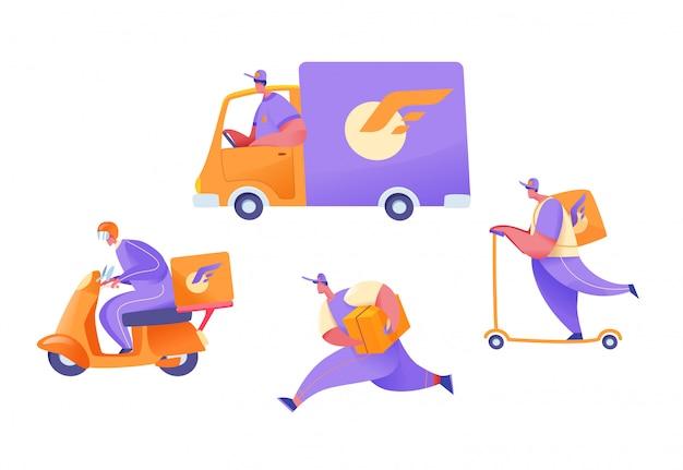 Corrieri di consegna dei cartoni animati su furgone, scooter, moto ea piedi con pacchi impostati. raccolta dei lavoratori del servizio di consegna. concetto di spedizione e trasporto merci. logistica persone piatte