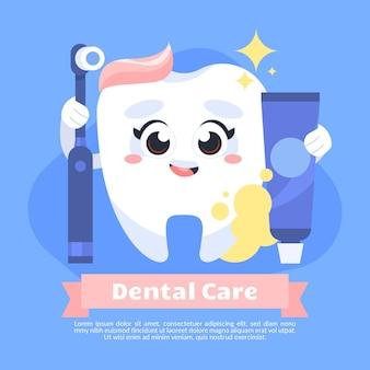 Illustrazione del concetto di cura dentale del fumetto