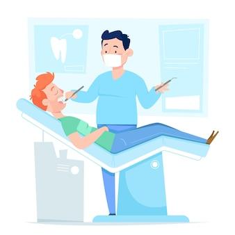Concetto di cure odontoiatriche del fumetto con il paziente