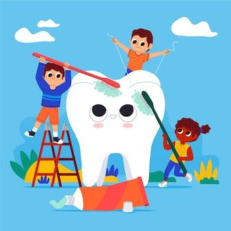 Concetto di cura dentale dei cartoni animati