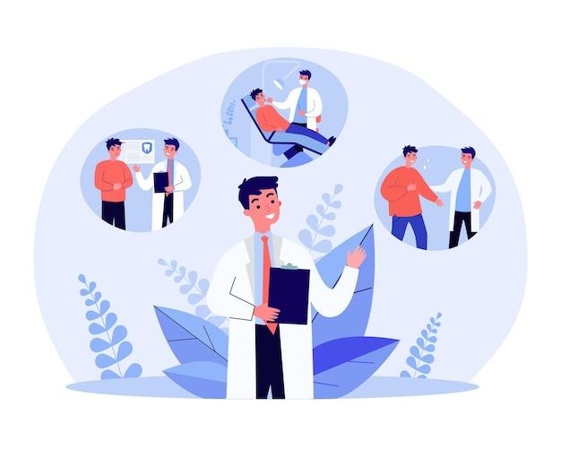 Dentista del fumetto che dà trattamento dentale paziente checkup dentale in clinica o in ospedale, illustrazione vettoriale piatta per l'igiene orale. odontoiatria, concetto di medicina per banner, progettazione di siti web o pagina web di destinazione