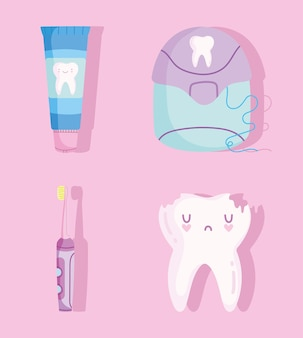 Set di odontoiatria dei cartoni animati