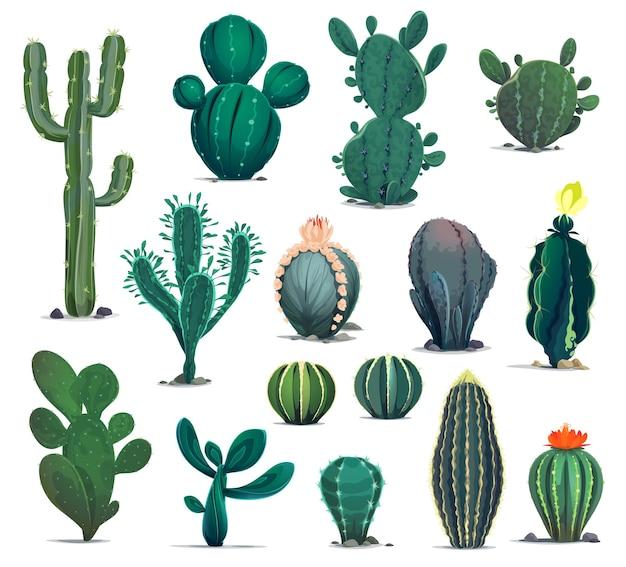 Cactus del deserto dei cartoni animati, piante grasse spinose