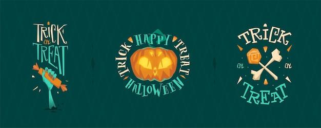 Emblemi di design dei cartoni animati per halloween