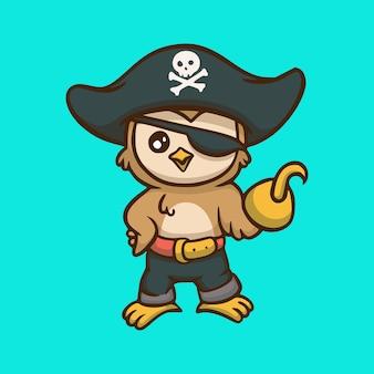 Disegno del fumetto del gufo che indossa costume pirata