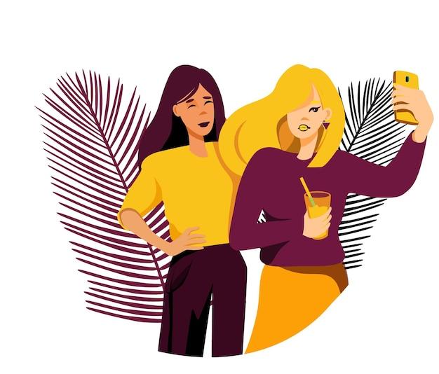 Progettazione di cartoni animati con ragazze che si fanno un selfie amici illustrazione vettoriale di character design
