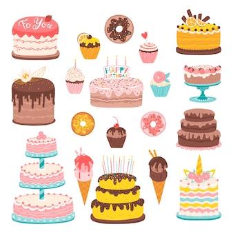 Insieme del dessert del fumetto. illustrazioni di varie torte, muffin e gelati.