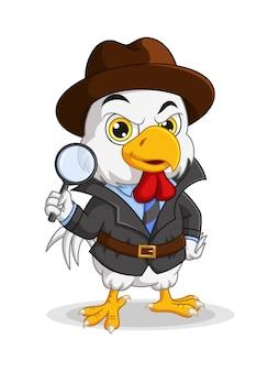 Cartoon detective pollo con lente d'ingrandimento