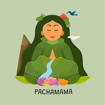 Cartoon dia de la pachamama illustrazione
