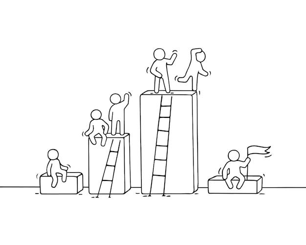 Diagramma del fumetto con piccole persone che lavorano. doodle carino lavoro di squadra in miniatura. illustrazione disegnata a mano per progettazione aziendale e infografica.